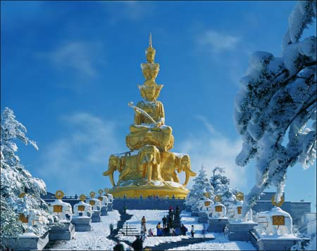 峨眉山金顶雪景