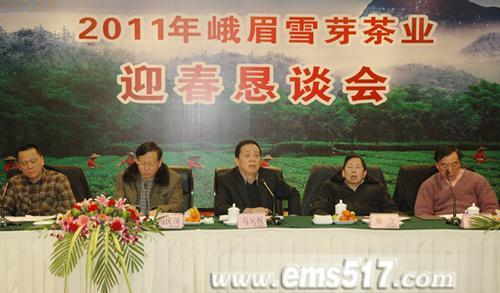 马元祝董事长(中)介绍峨眉雪芽'51102'战略规划