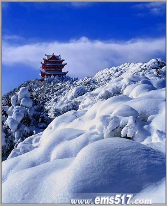 峨眉山冬景风光雪景