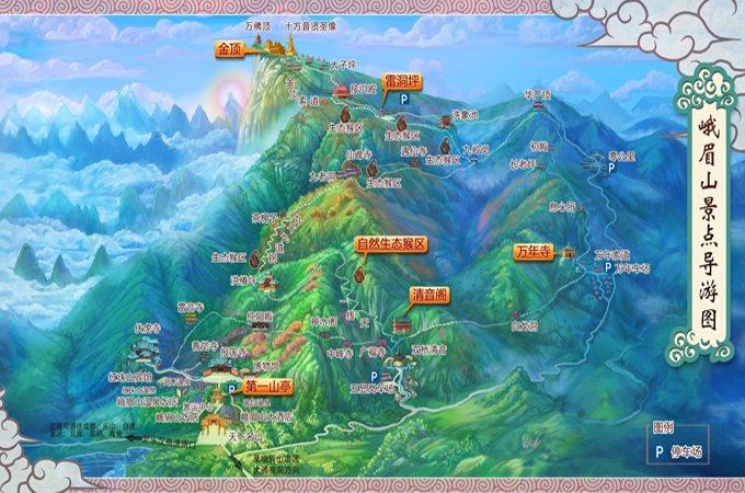也可乘坐旅游观光车到峨眉山中,高山区